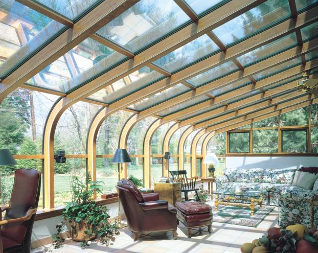 Wood interior glass curved roof