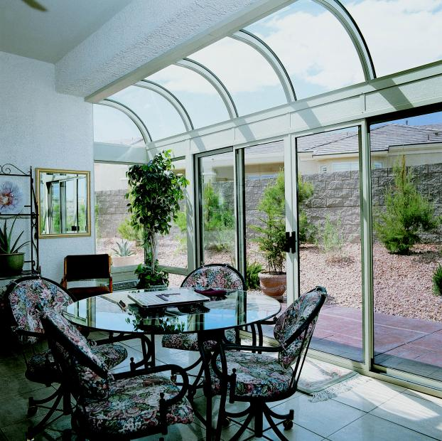 Curved Glass Single Bay Bump-out Patio Enclosure - Henderson, Nevada