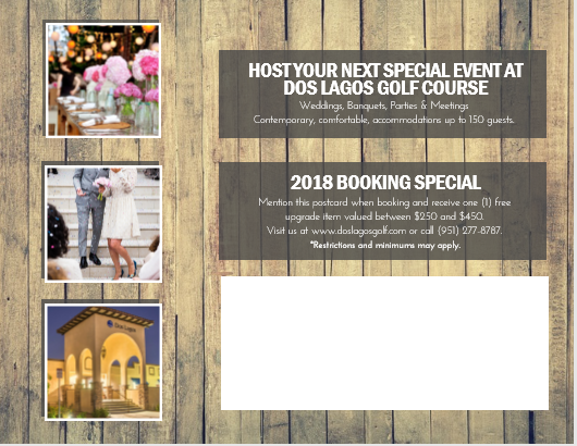 Banquet Room Advertisement, Dos Lagos Golf Course, Corona, CA