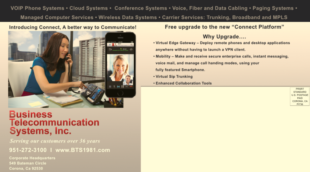 Business Communications Systems Mailer, Corona, CA