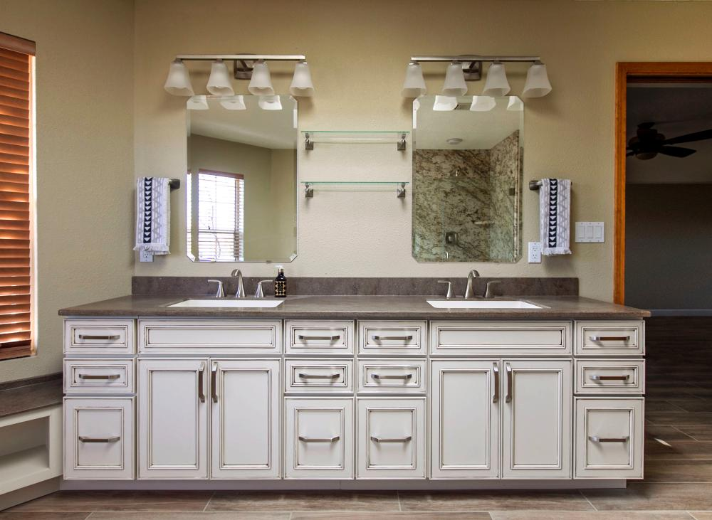 Master bathroom vanity after completed remodel in Albuquerque, NM