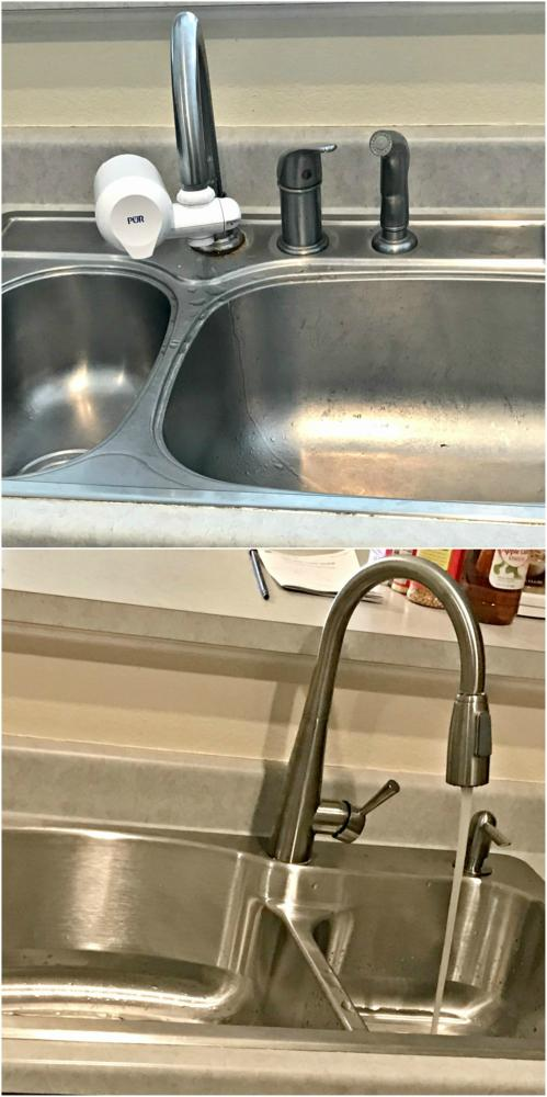 Replacement of sink and faucet before and after in Elizabeth CO 80107