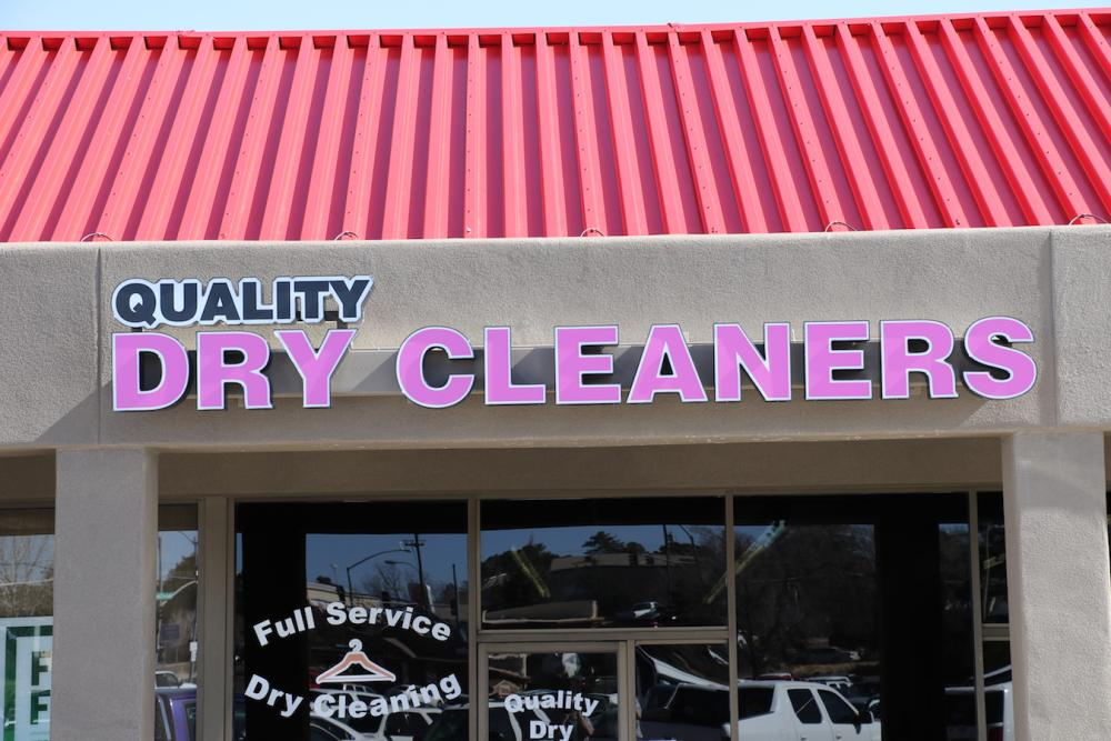 New Building sign for Quality Dry Cleaners