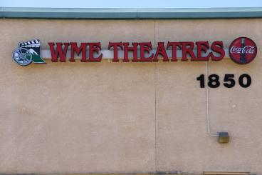 New building sign for WME Theaters