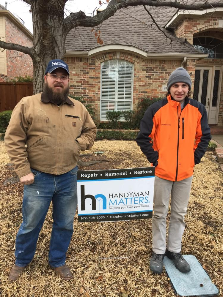 Craftsmen Allen and Davis here on a cold day in Dallas!