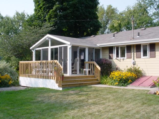 Sunroom with a deck