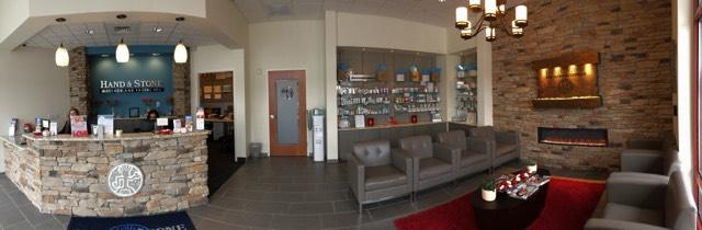 Front desk and lobby at the Hand and Stone in Allentown.