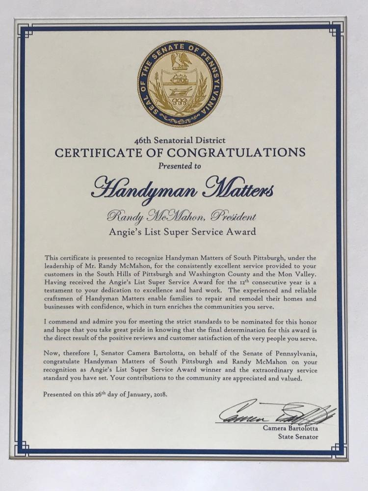 Handyman Matters receives Certificate of Congratulations  from Senator Bartolotta