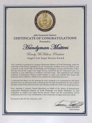 Handyman Matters receives Certificate of Congratulations  from Senator Bartolotta
