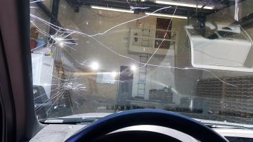 The windshield is built to keep people in the vehicle in an event of a rollover accident. Thumbnail