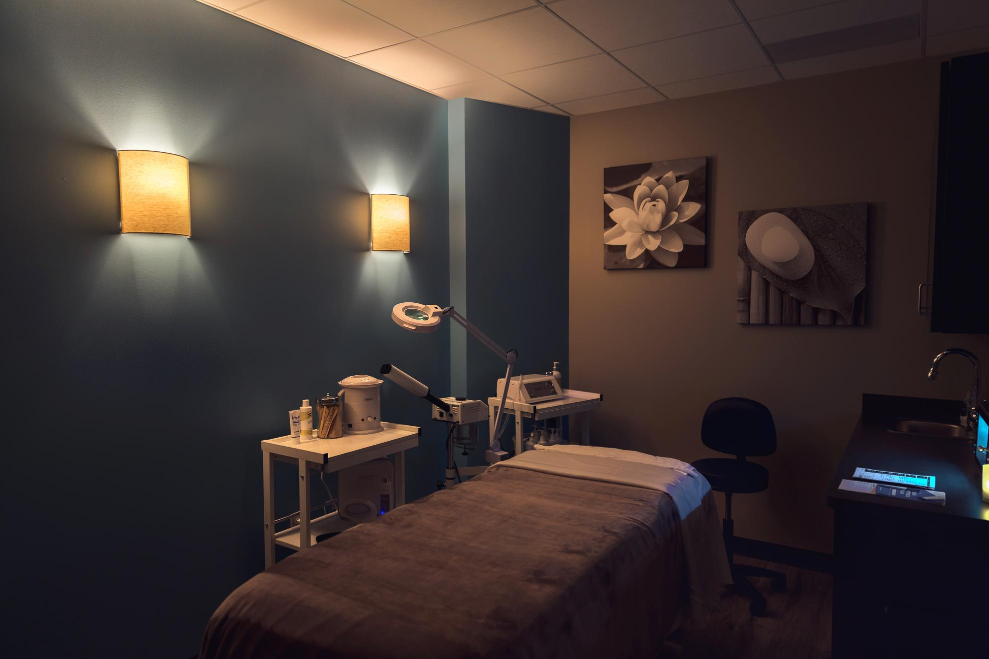 Facial rooms offering advanced facials and hair removal