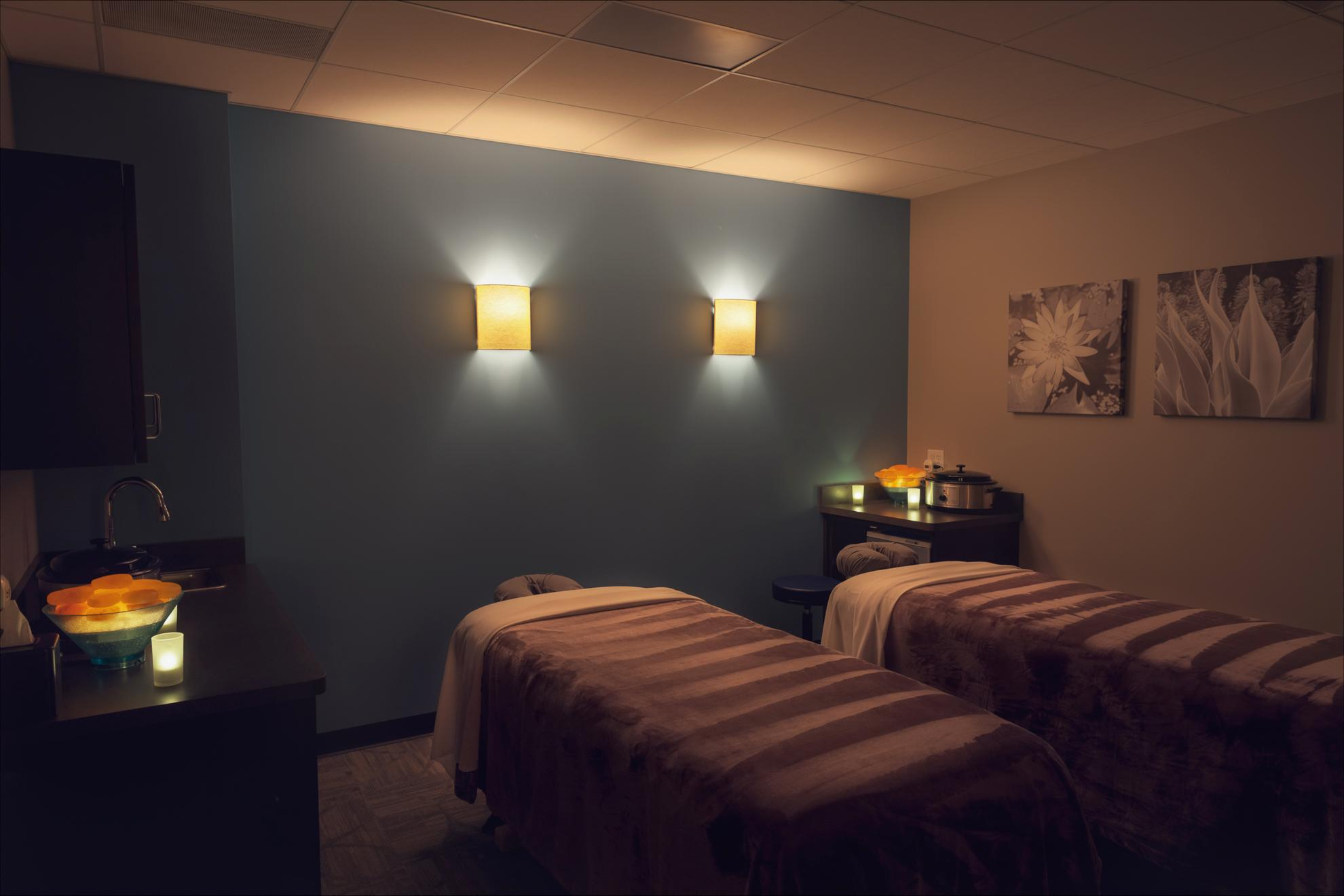 Couples massage room with Himalayan salt stones
