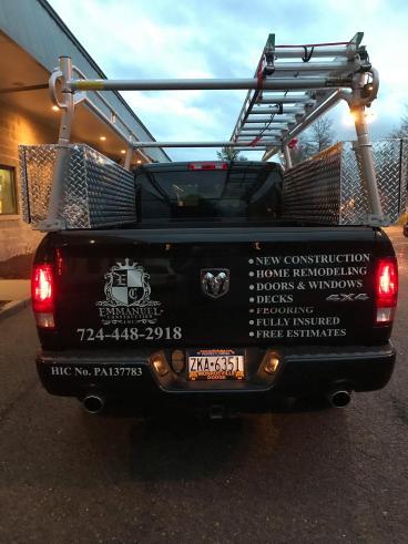 Emmanuel Construction Truck Graphics (back)