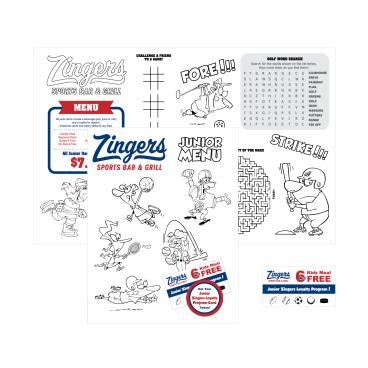 Zingers Kids Menu
