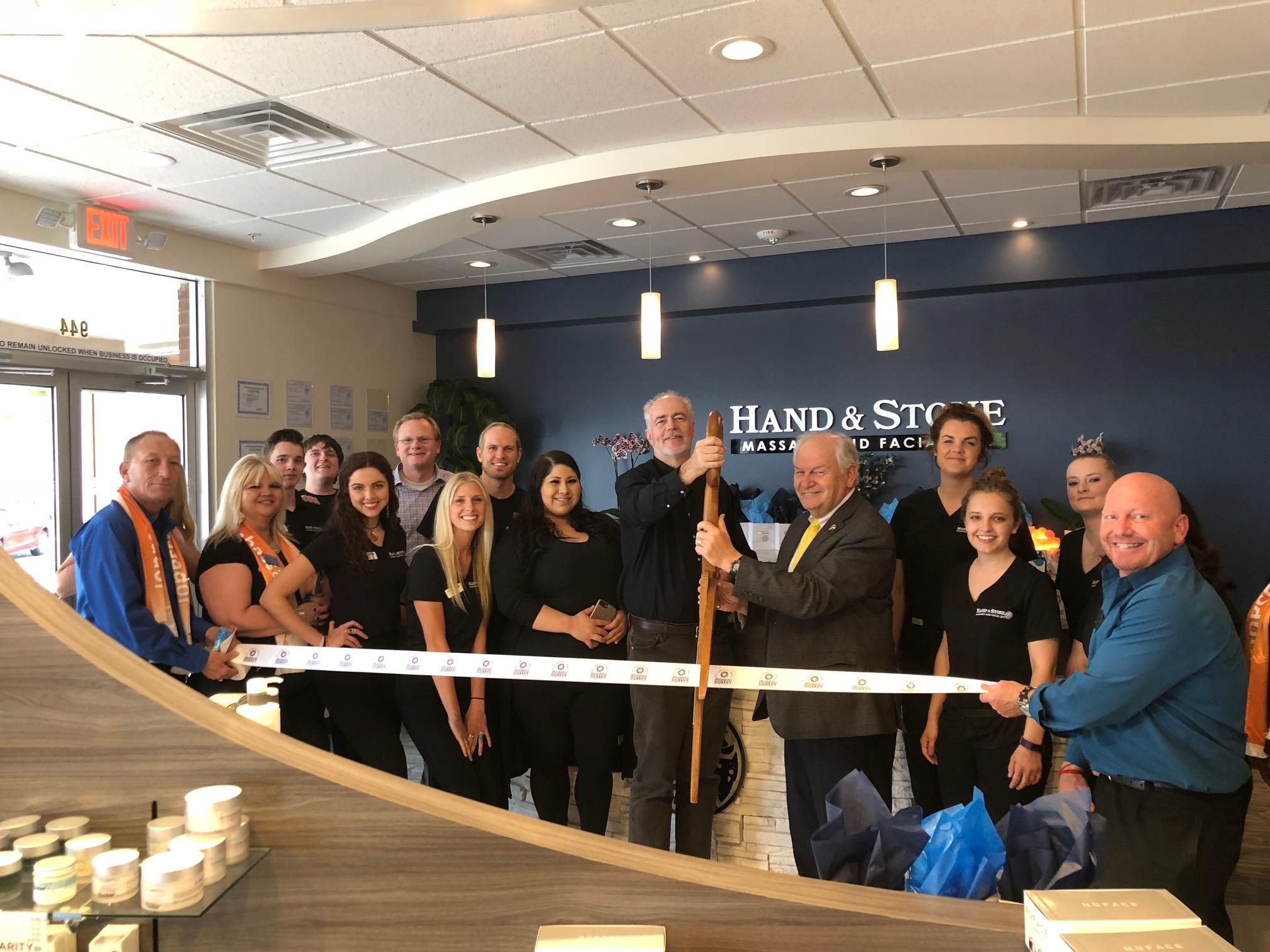 Ribbon Cutting Ceremony at the new Midvale Hand & Stone Massage.