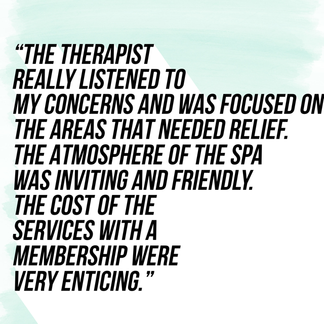 We value feedback from our clients. Each massage is customized to meet individual needs.