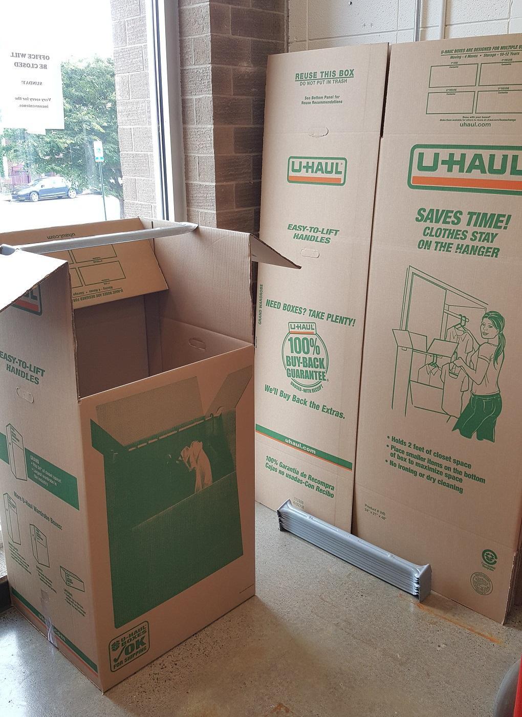 Wardrobe boxes.