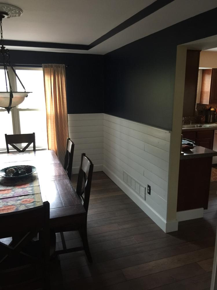 Painted and Installed Shiplap in a Dining Room in Westerville