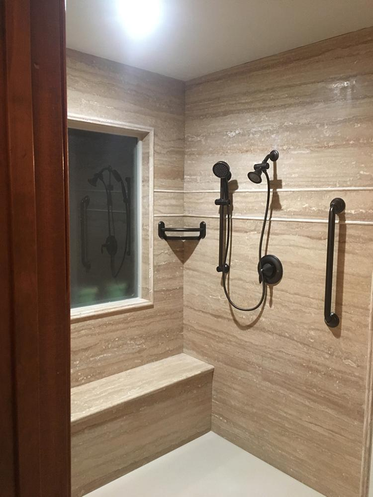 Accessible Walk-In Shower with Re-Bath Natural Stone
