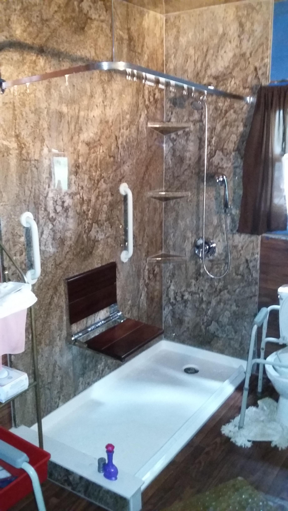 This is a handicapped accessible shower with many safety features.