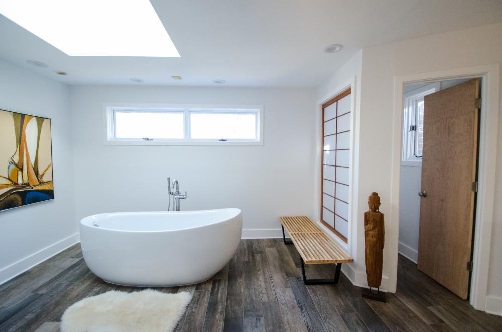 Free-standing tub, bench, skylights, asian theme, tile plank flooring