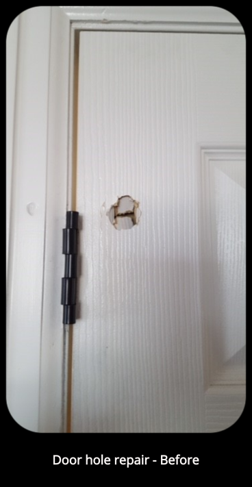 Door hole repair - Before - Littleton, CO