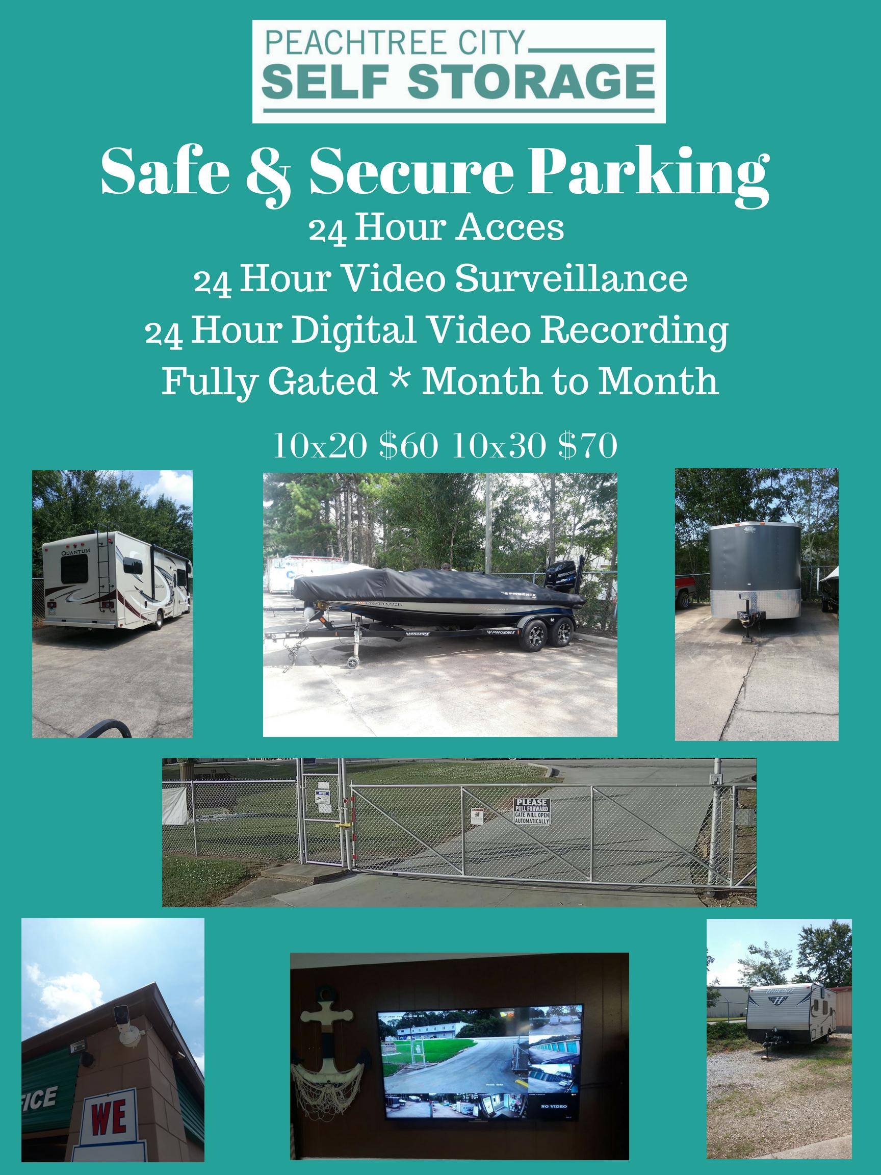 We Offer Parking For Small & Large Cars, Trucks, Box Trucks, Boats, Campers, Trailers, Golf Carts,