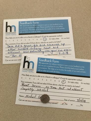 Handyman Matters of Wilkes-Barre and Scranton Feedback Cards 10 out of 10