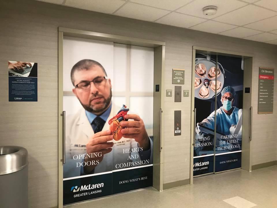 McLaren Greater Lansing Elevator Wraps