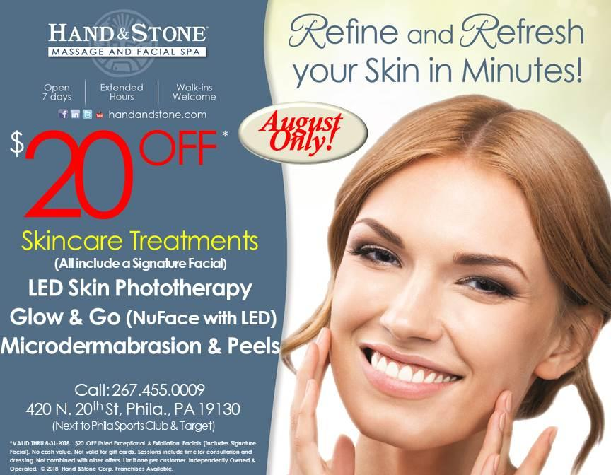 $20 Off Skincare Treatments - August Only