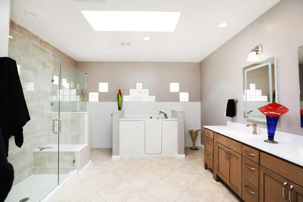 We updated the shower, vanity, flooring, back wall, and walk-in tub to offer a more accessible bathroom for years to come.