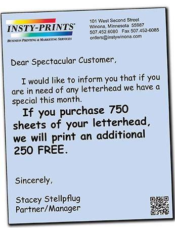250 free sheets of your letterhead with purchase of 750 sheets