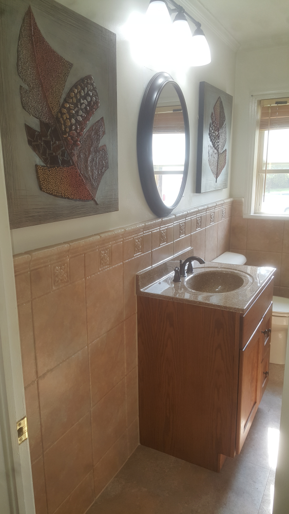 Wainscoting on walls, sink replacement, and fixtures in Enterprise, Al