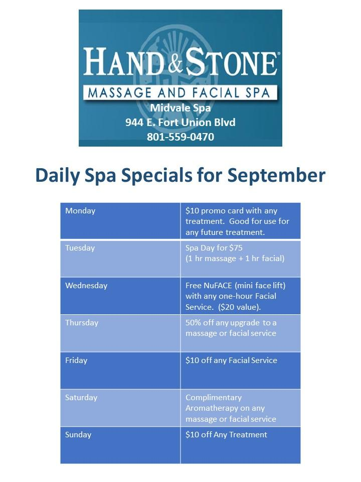 Check out our daily specials for the month of September