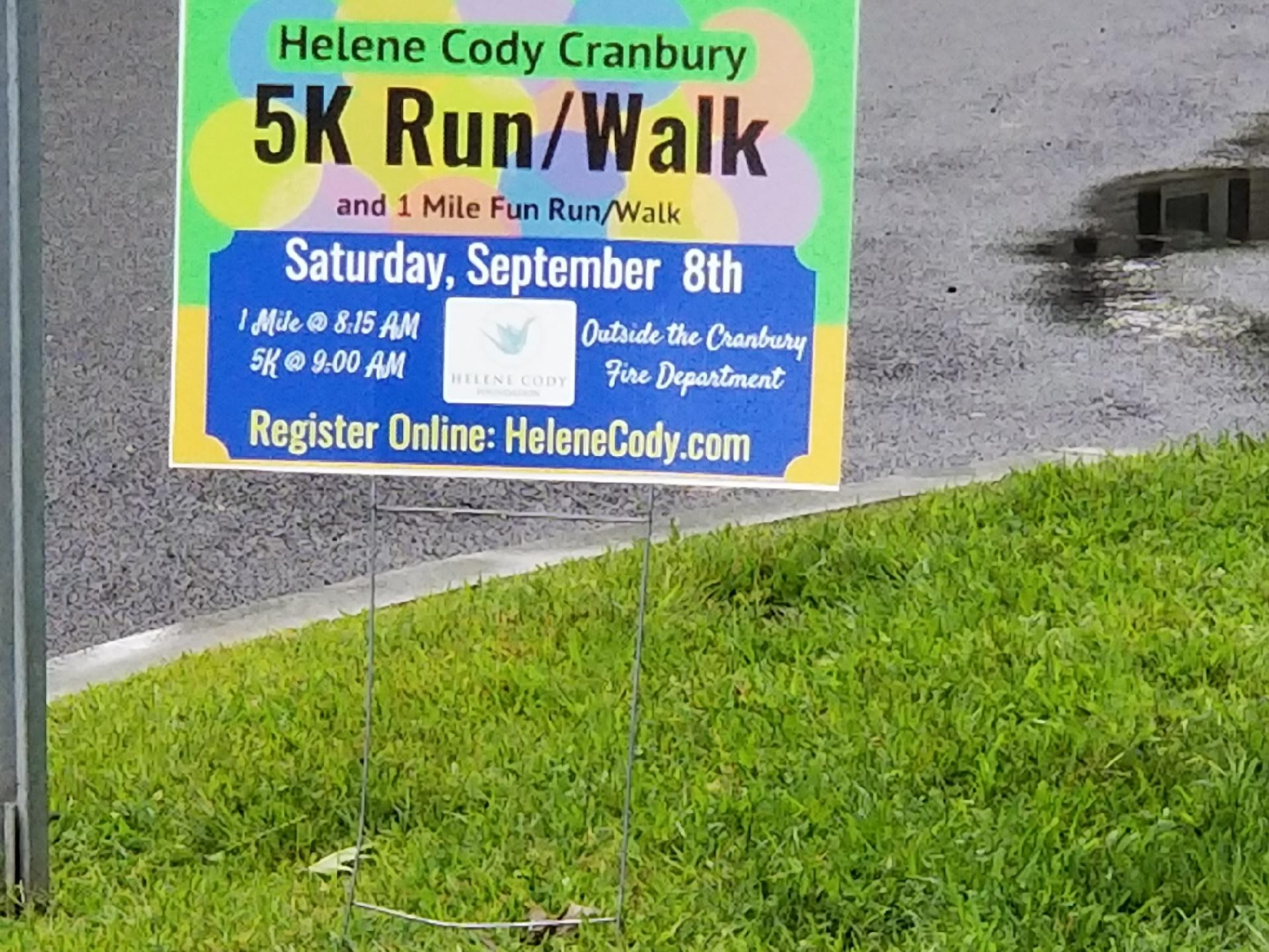 Helene Cody 5K Run/Walk Hand & Stone, East Windsor NJ 08520