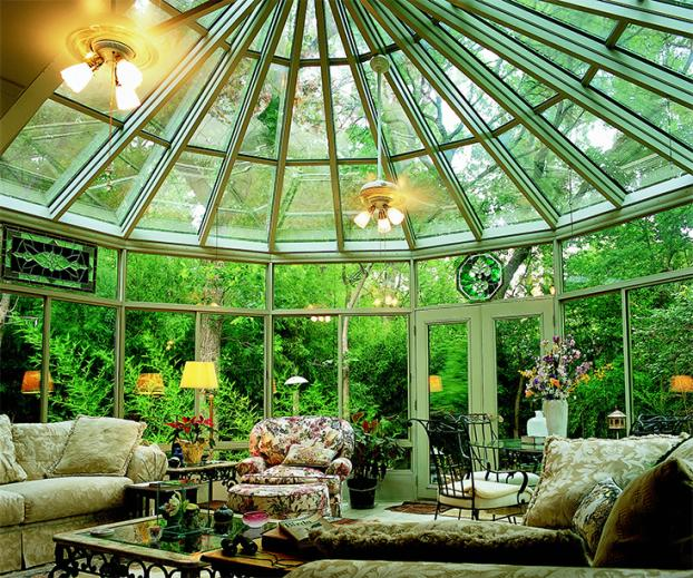 Cathedral Vinyl with Glass Roof Sunroom