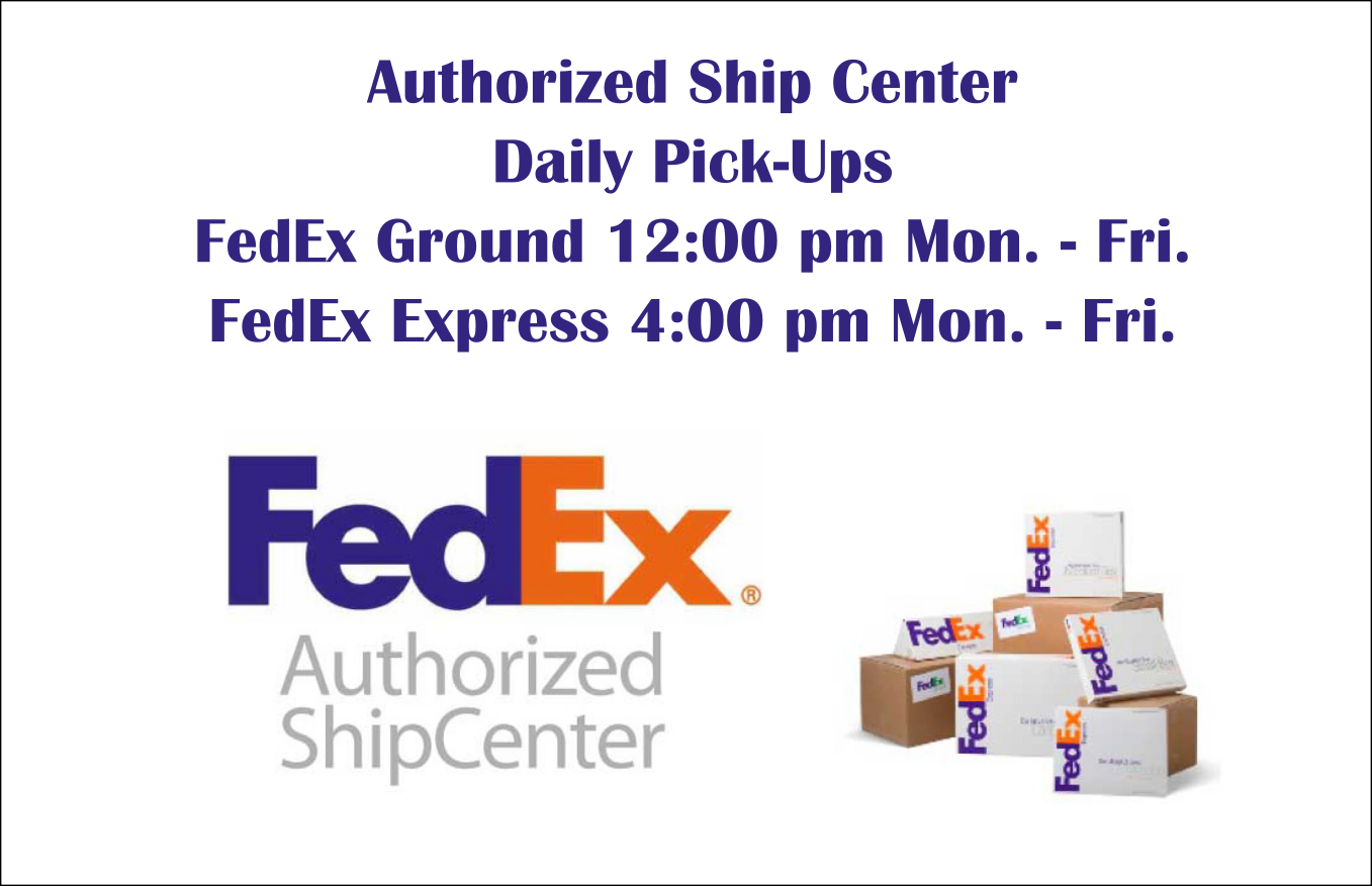 You may drop off packages that already have a label or you may ship through us.