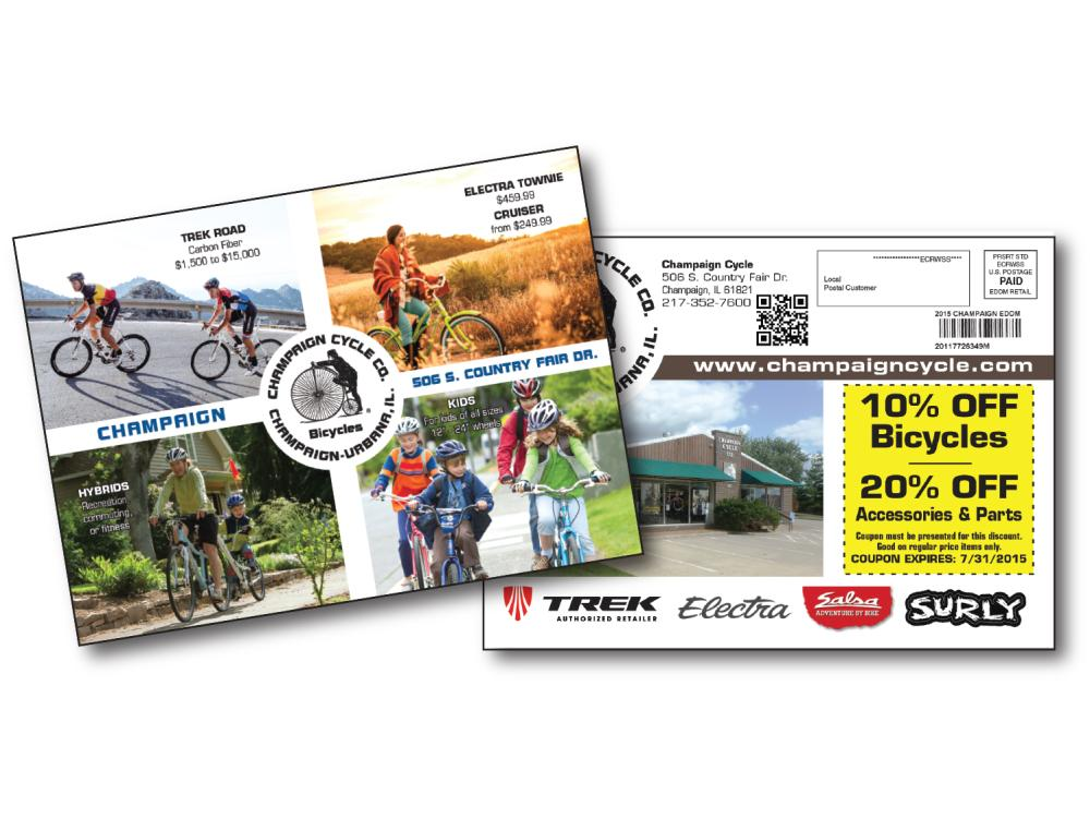 An EDDM card for a local bicycle shop