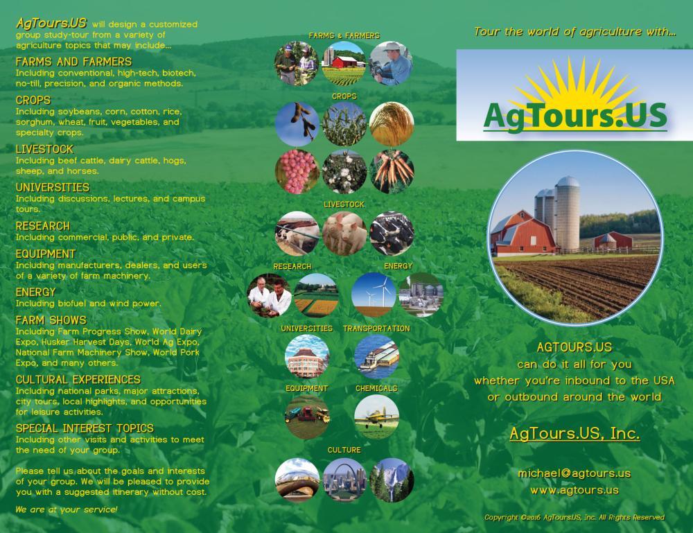 A tri-fold brochure for an agricultural program.