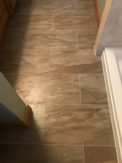 Tarkett Permastone Sandstone Heath Flooring with standard Gray grout