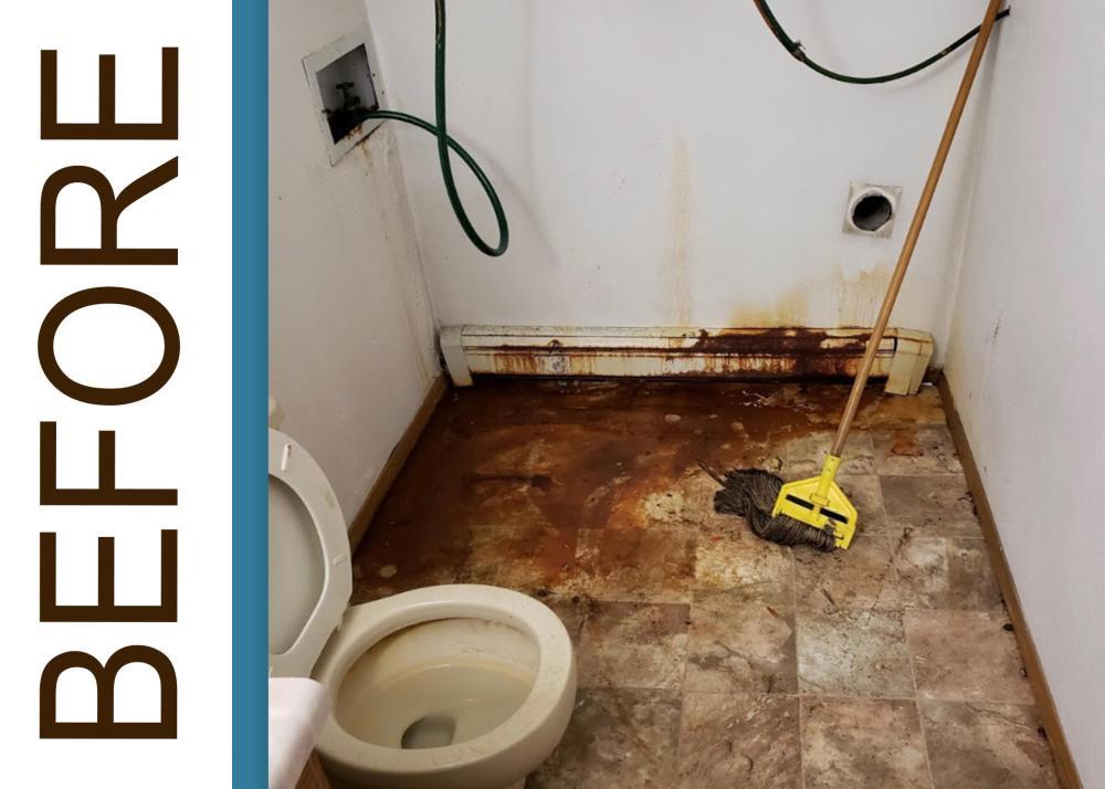 BEFORE: Water Damaged Bathroom