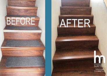 BEFORE and AFTER: Stairway Refinishing
