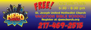 A vinyl banner for vacation bible school