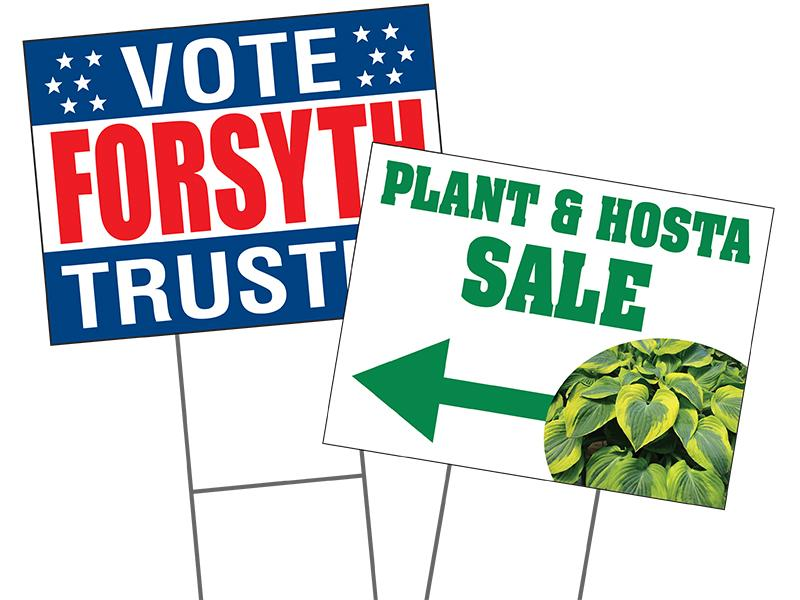 Our yard signs are full color and printed on durable coroplast material. Includes H-Wire stakes.