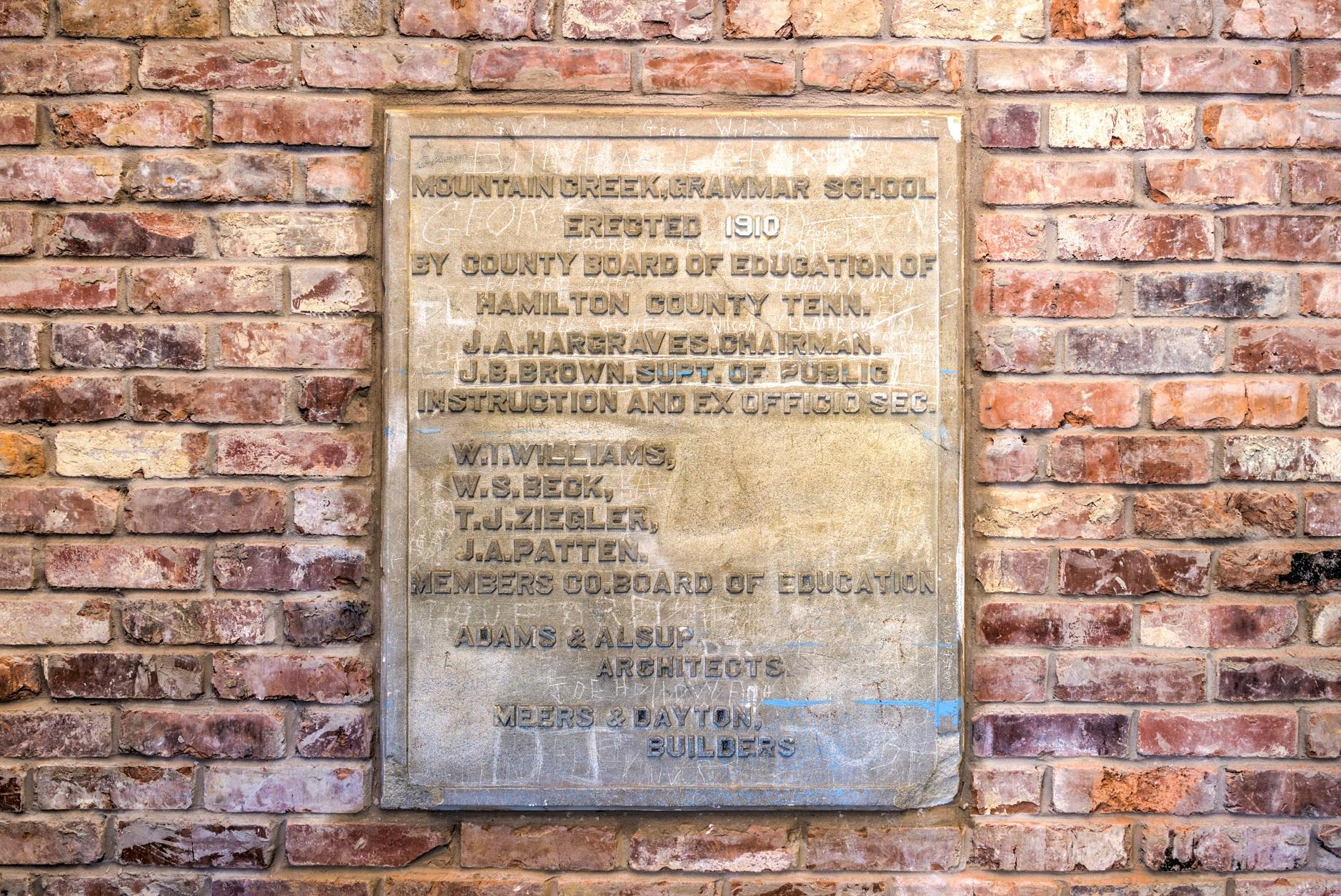 Plaque From Old Mountain Creek Grammer School