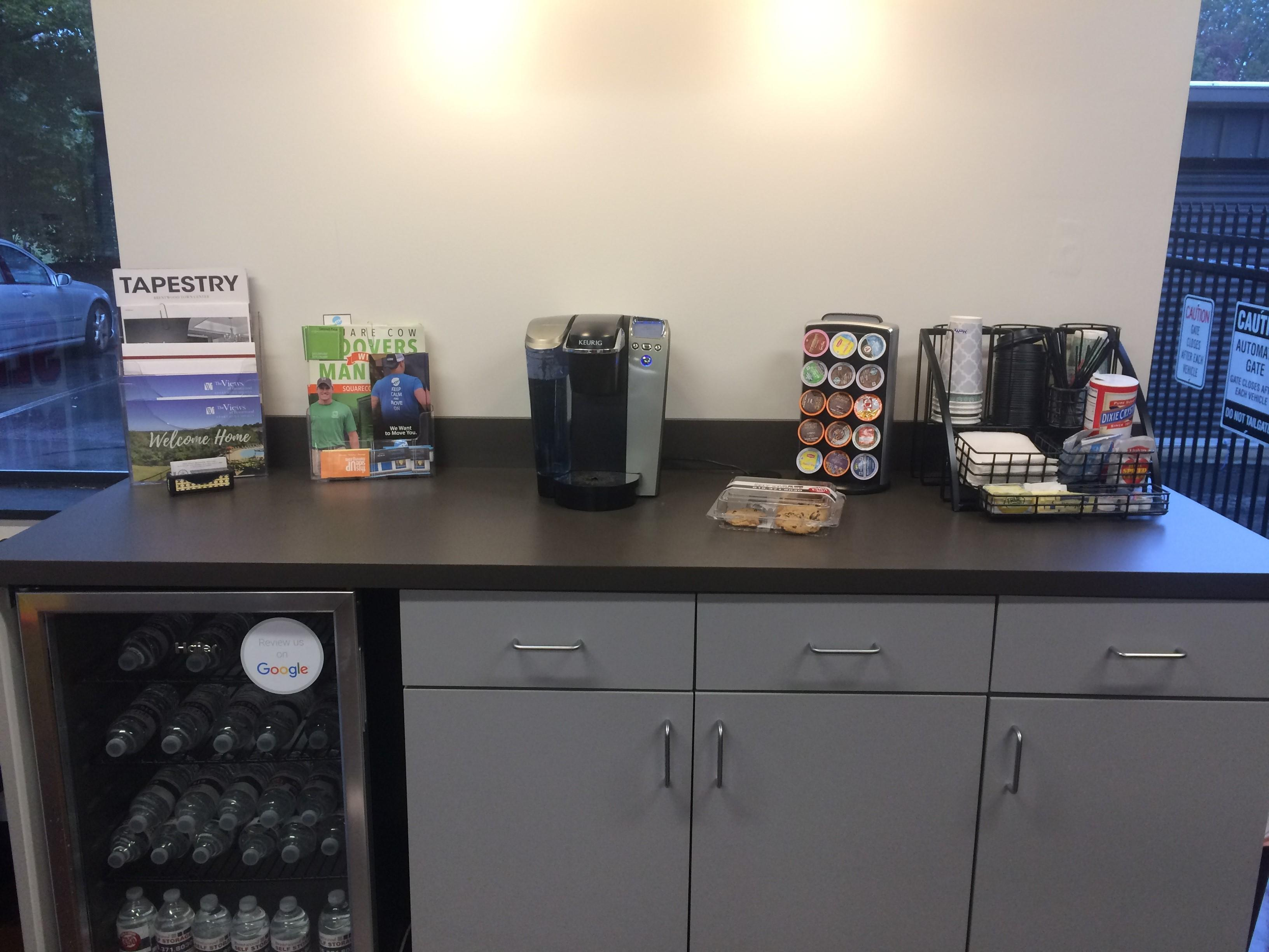 Take advantage of our complementary refreshment corner!