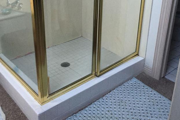 Small corner shower with gross grout and tile floor, brass and glass shower door, and carpet floors.