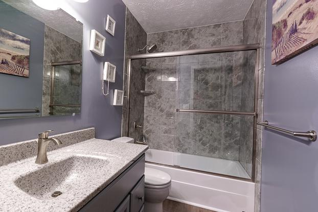 Lavender and Grey Full Bathroom Remodel