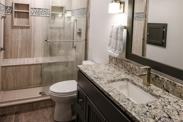 Natural Stone in Small ADA-Compliant Bathroom