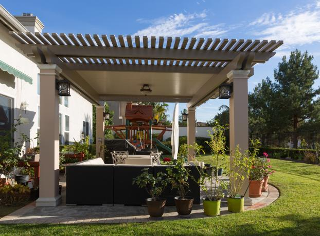 Nguyen Elitewood Freestanding Combination Solid & Lattice Patio Cover